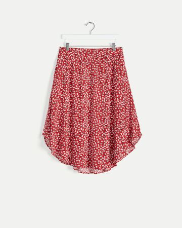 High-Low Printed Skirt with Pockets
