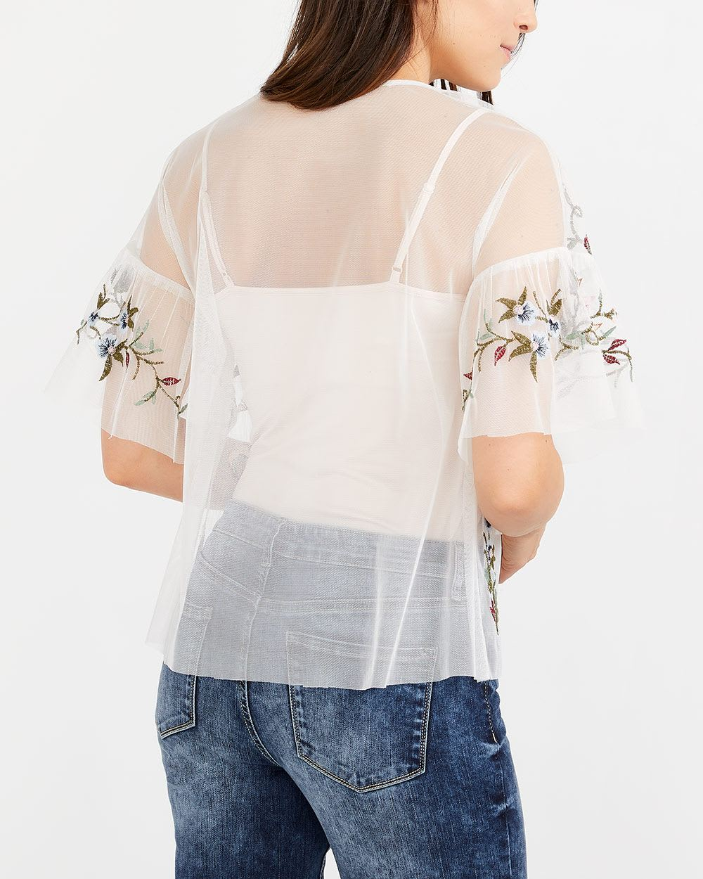 Embroidered See-Through Mesh Top