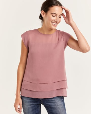 Cap Sleeve Tiered Blouse