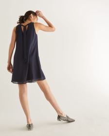 Sleeveless Back Tie Navy Dress