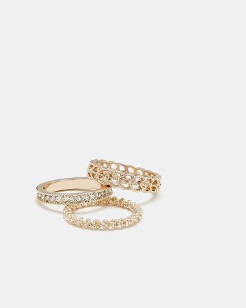 3-Pack Textured Rings