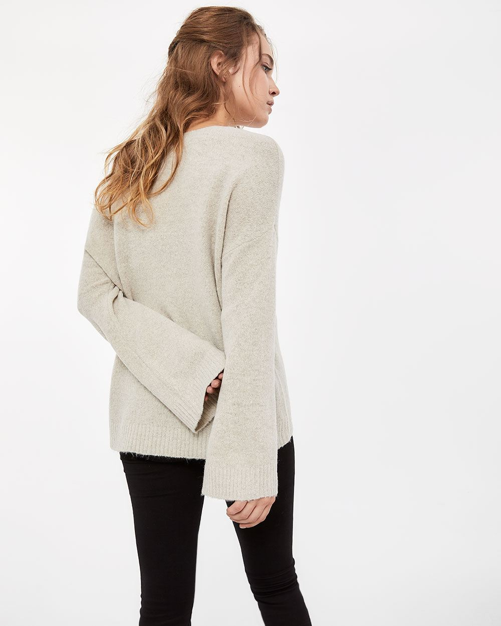 Pagode Sleeve V-neck Sweater