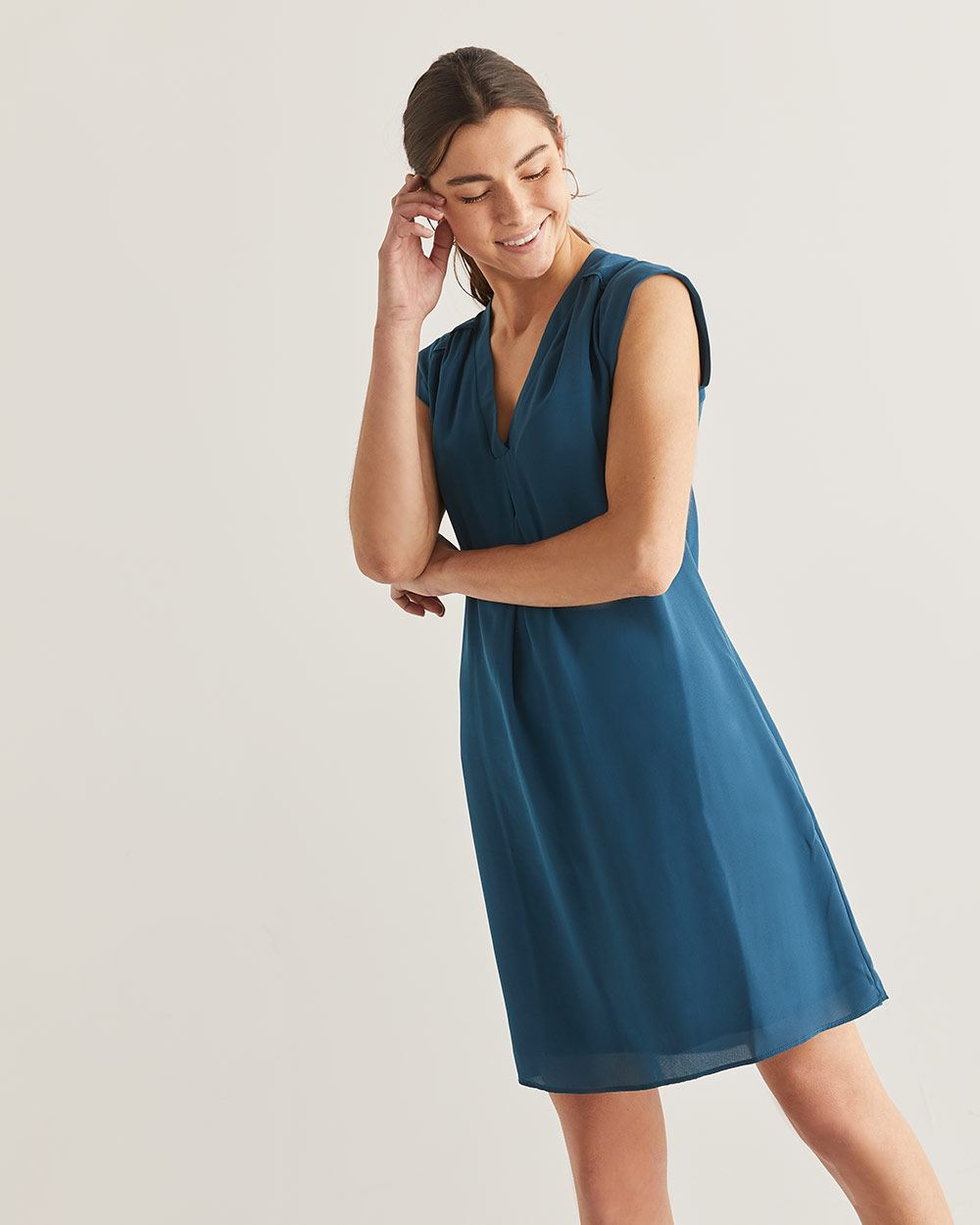Shift Dress with Pleats