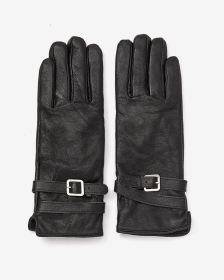 Tab Detail Leather Gloves
