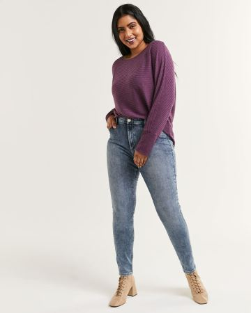 High Rise Acid Wash Skinny Jeans The Signature Soft