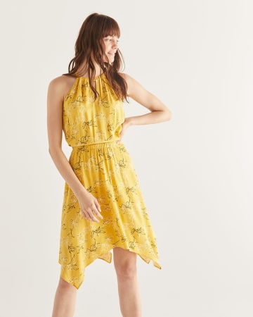 Floral Printed Elastic Waist Dress with Handkerchief Hem