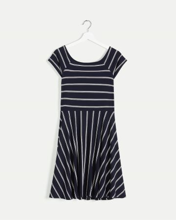 Square Neck Fit & Flare Striped Dress