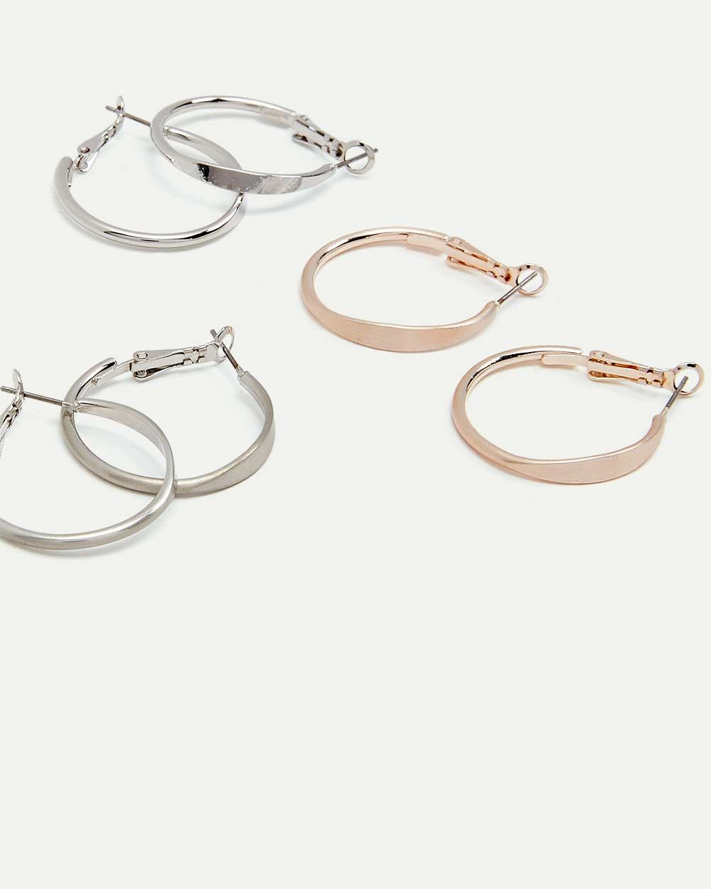 3-Pack Mixed Finish Hoop Earrings