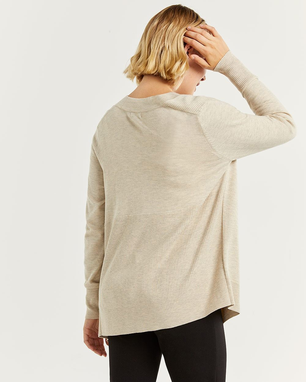 Open Cardigan with Curved Hem