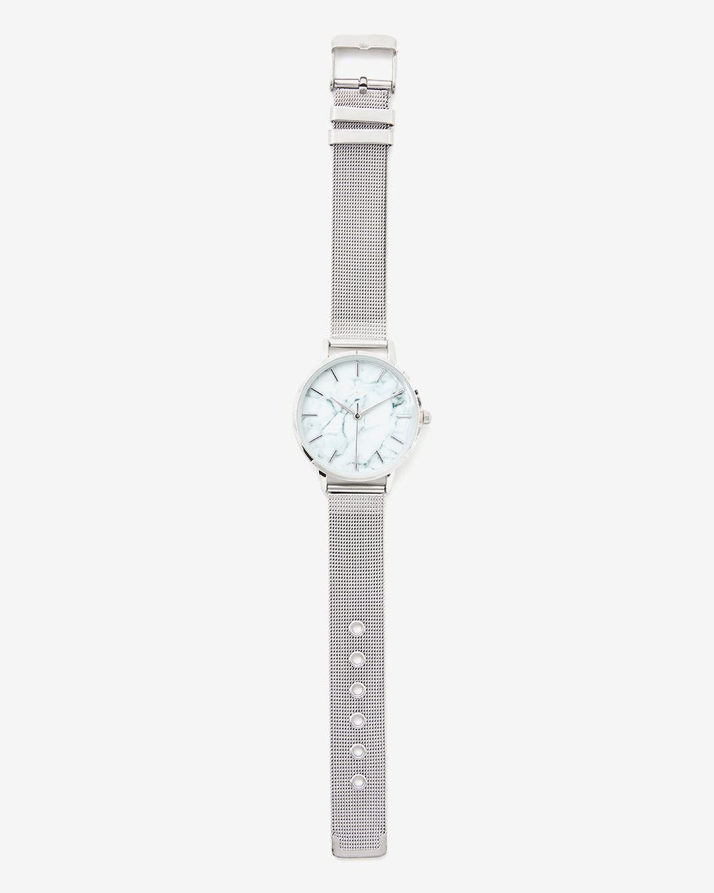 Marble Dial Mesh Band Wristwatch