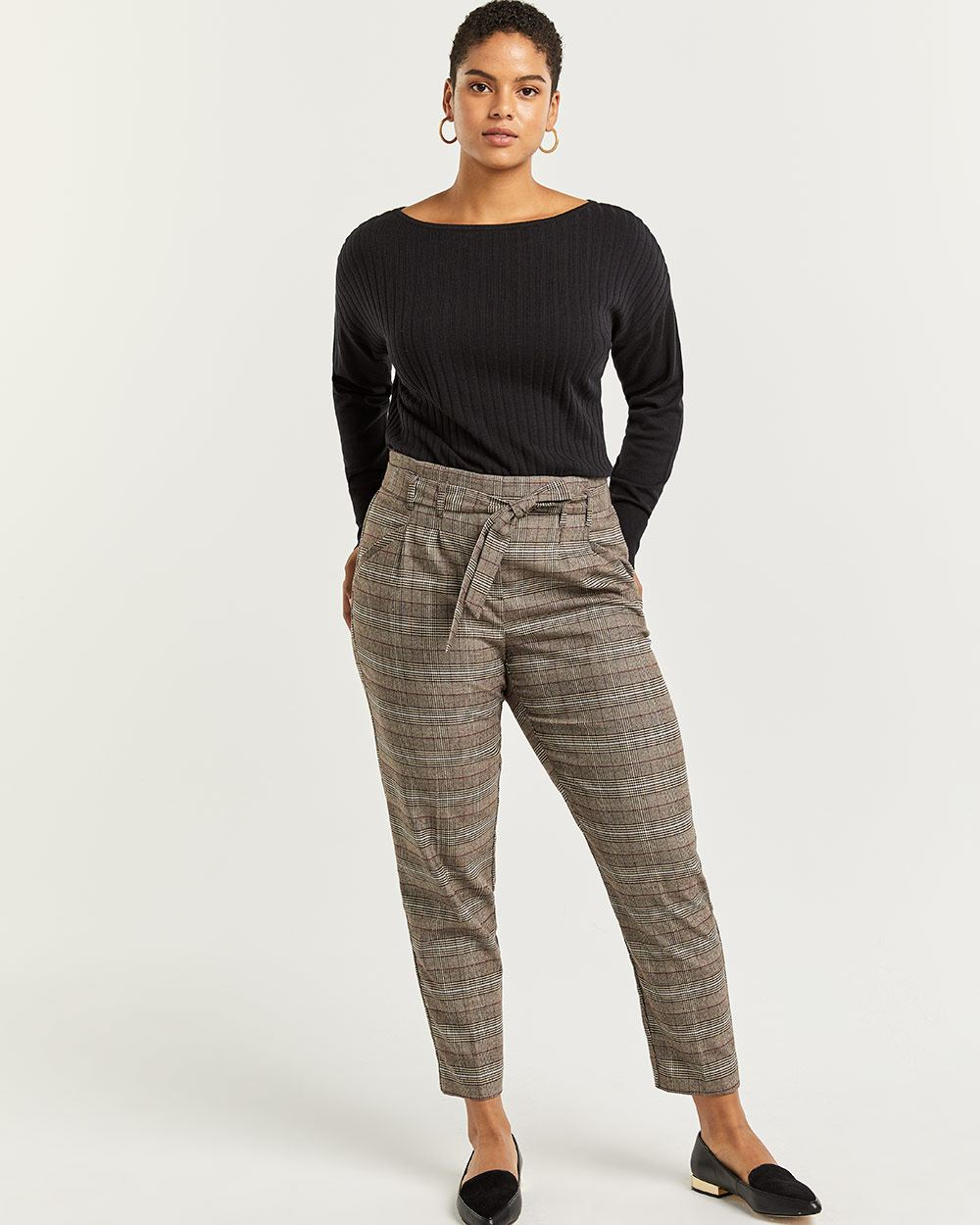 Glen Plaid Slim Pull On Paperbag Pants