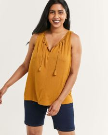 Sleeveless Crinkle Top with Drawstring and Tassels