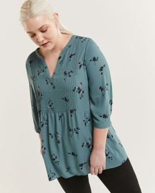 3/4 Sleeve Split Neck Printed Tunic with Pintucks