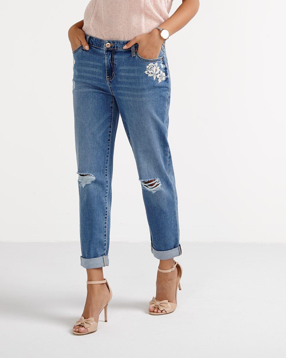distressed boyfriend jeans women reitmans. Black Bedroom Furniture Sets. Home Design Ideas