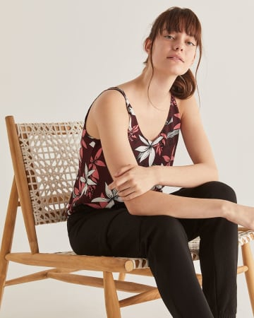 Crisscross Back Detail Printed Cami