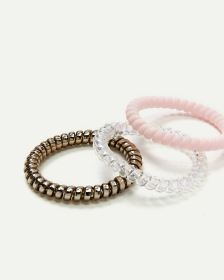 3-Pack Small Multi Spiral Hair Ties