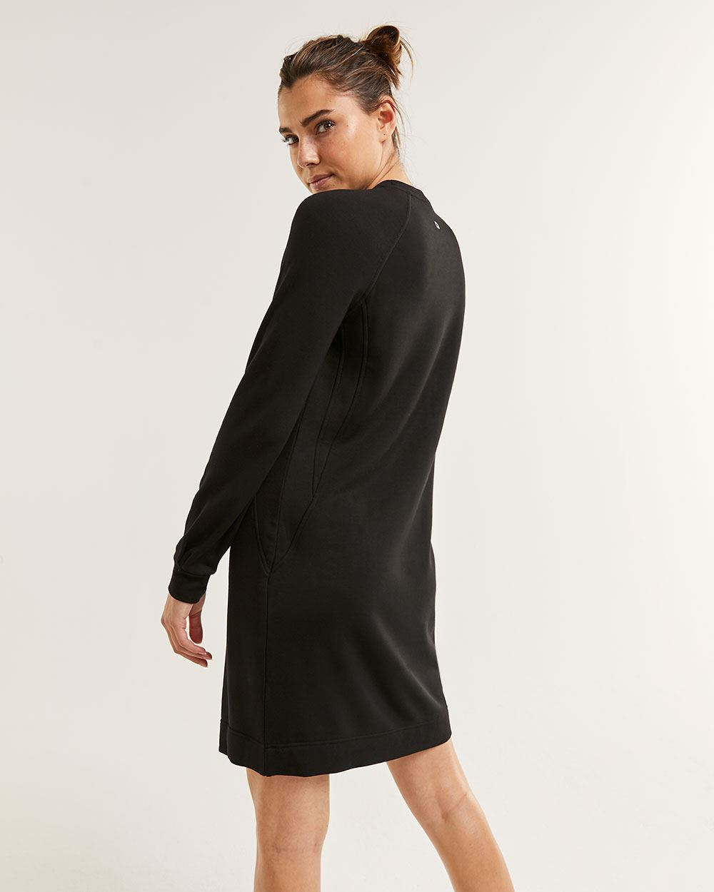 Long Sleeve Crew Neck Fleece Dress Hyba