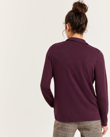Polo Collar Long Sleeve Henley Tee