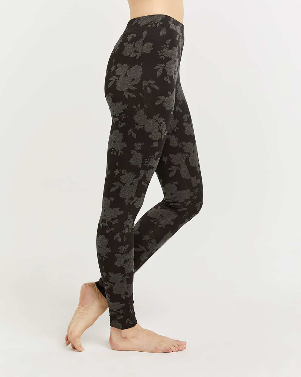 Cotton-Blend Floral Printed Leggings