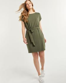 Short Sleeve Jersey Shift Dress with Sash