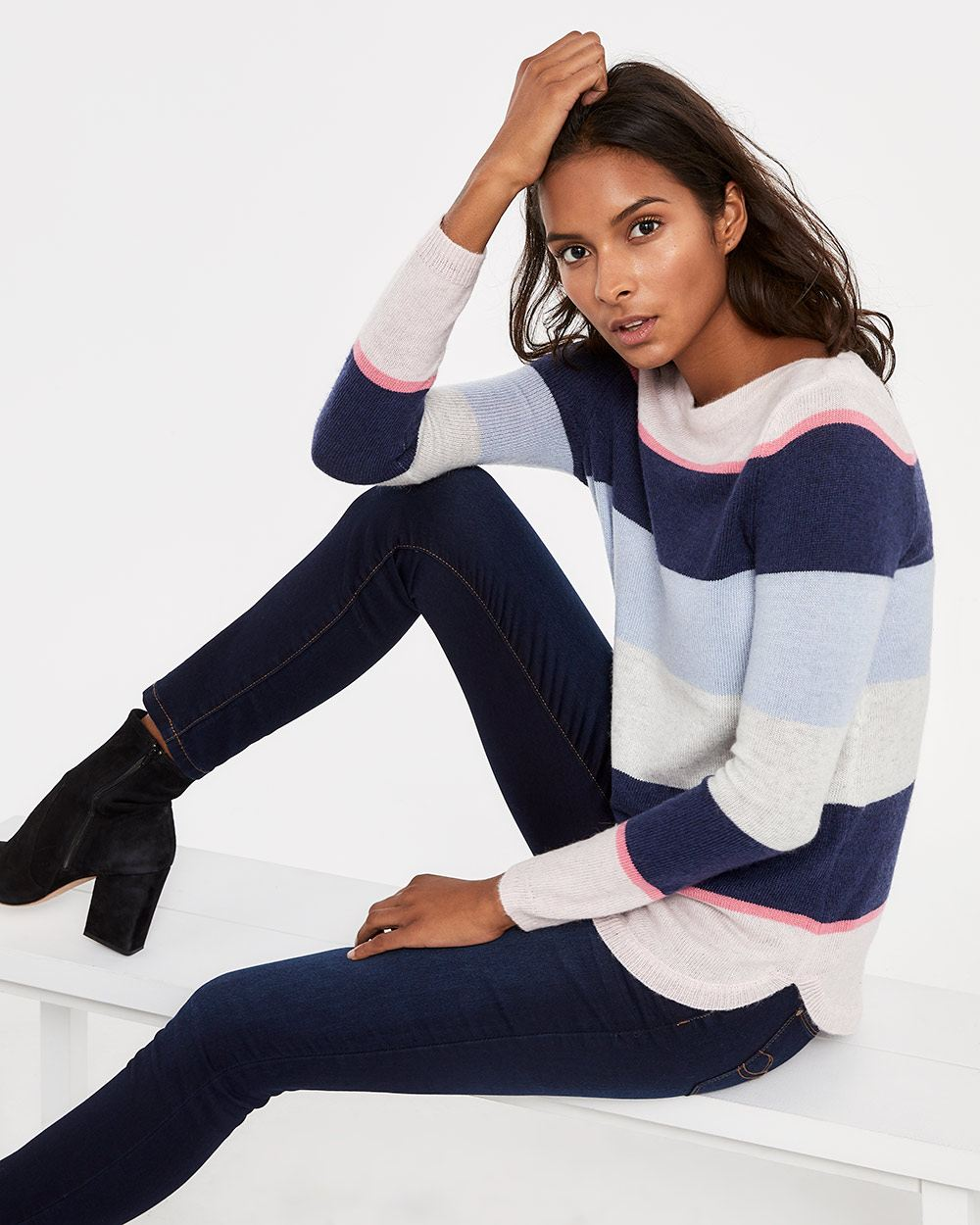 Boat Neck Round Hem Sweater