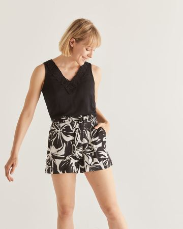 Floral Print Shorts with Sash