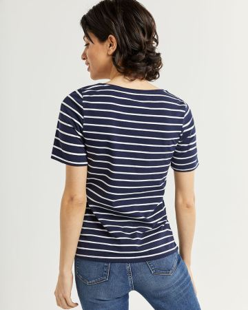 Striped Cotton Blend Short Sleeve Tee R Essentials