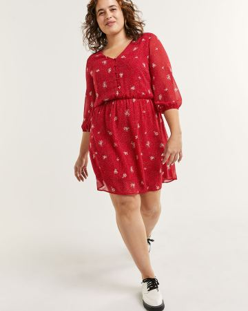 3/4 Sleeve V-Neck Elastic Waist Printed Dress