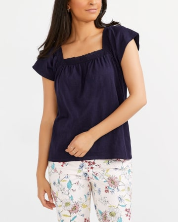 Short Sleeve Top with Square Neck