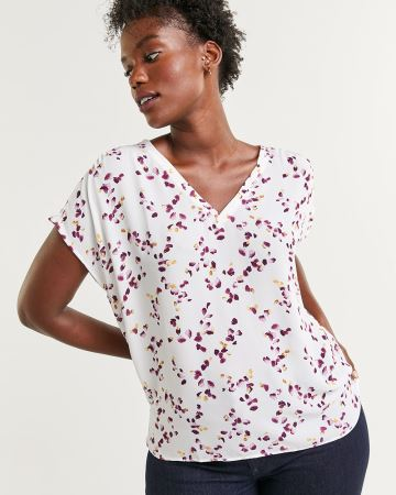 Short Sleeve Printed V-Neck Blouse