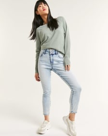 High Rise Ankle Skinny Jeans with Split Waistband