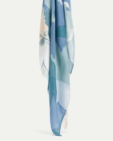 Abstract Flower Print Oblong Scarf