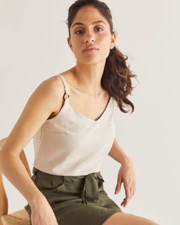 Linen-Blend Cami with Tortoise Rings