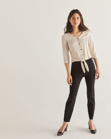 The Iconic Textured Pull On Ankle Pants - Tall