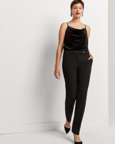 Black Straight Leg Pants with Metal Detail