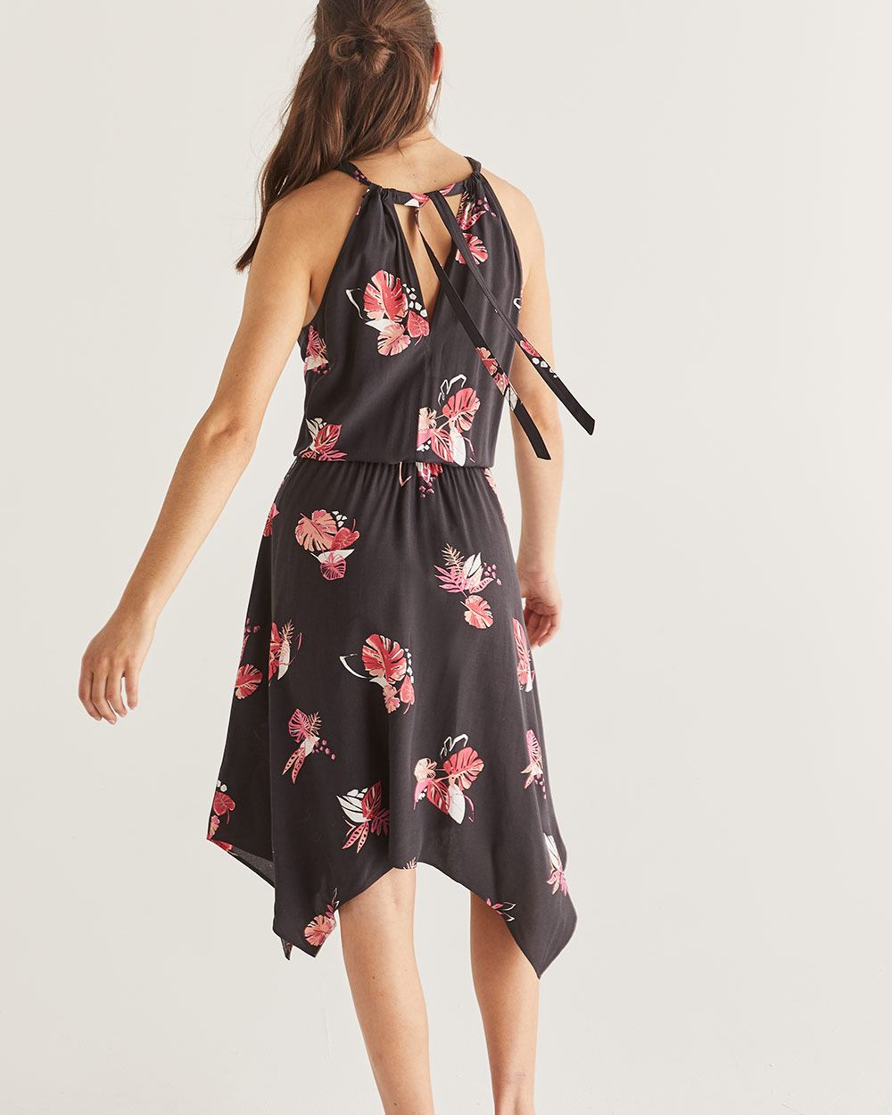 Printed Halter Dress with Elastic Waist
