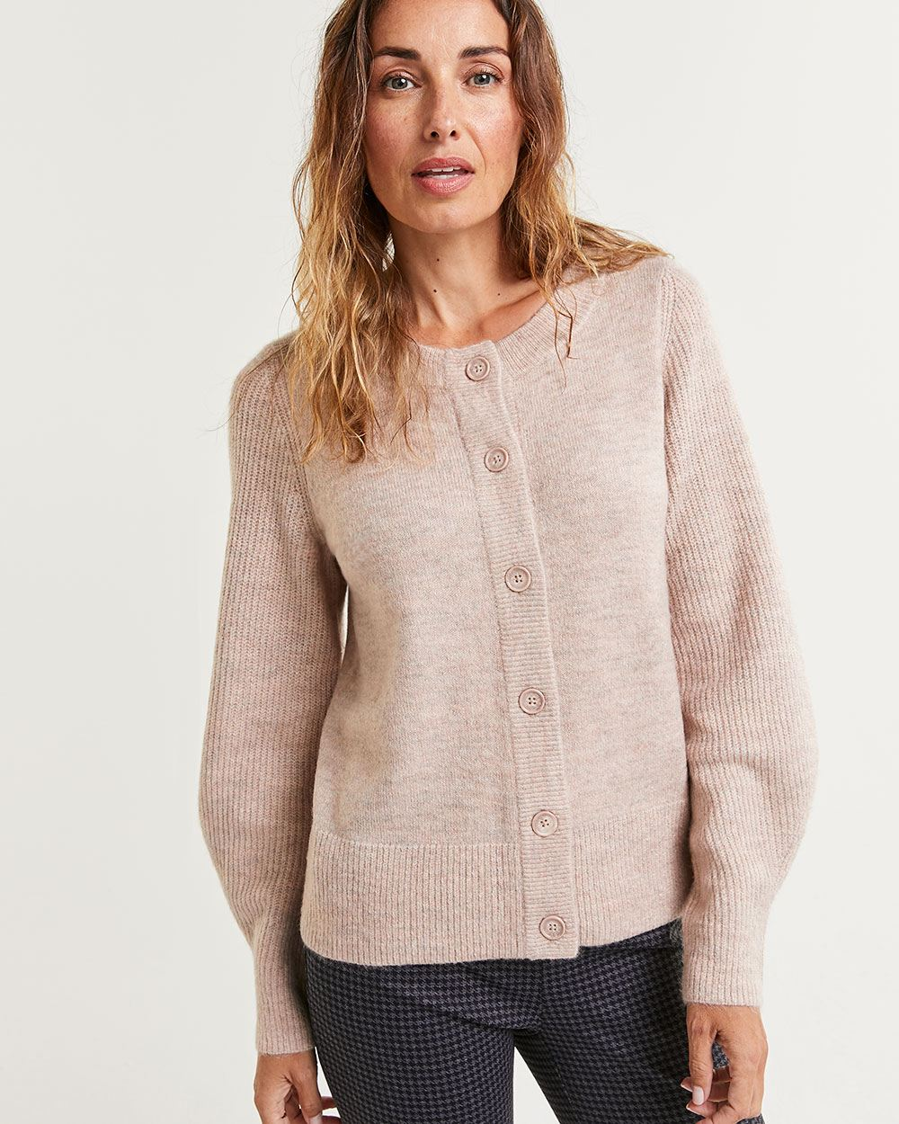 Balloon Sleeve Buttoned-Down Cardigan