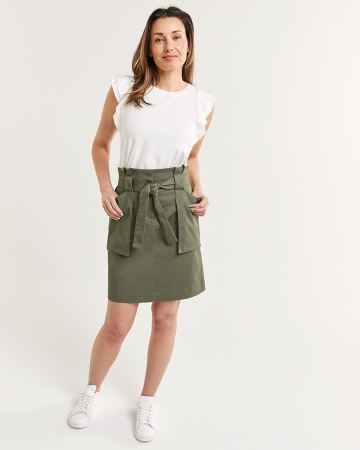 Paperbag Skirt With Patch Pockets And Sash