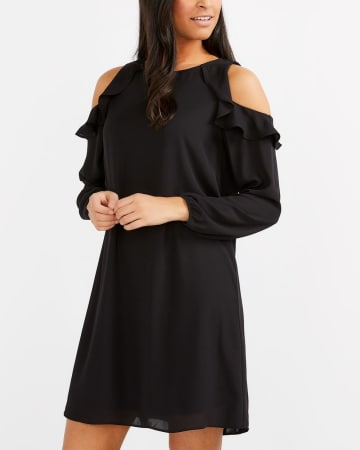 Ruffle Cold-Shoulder Dress