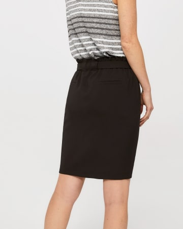 Paper Bag Waist Solid Skirt