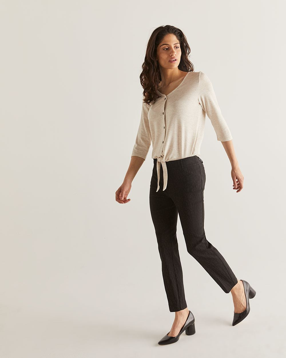 The Iconic Textured Pull On Ankle Pants - Petite