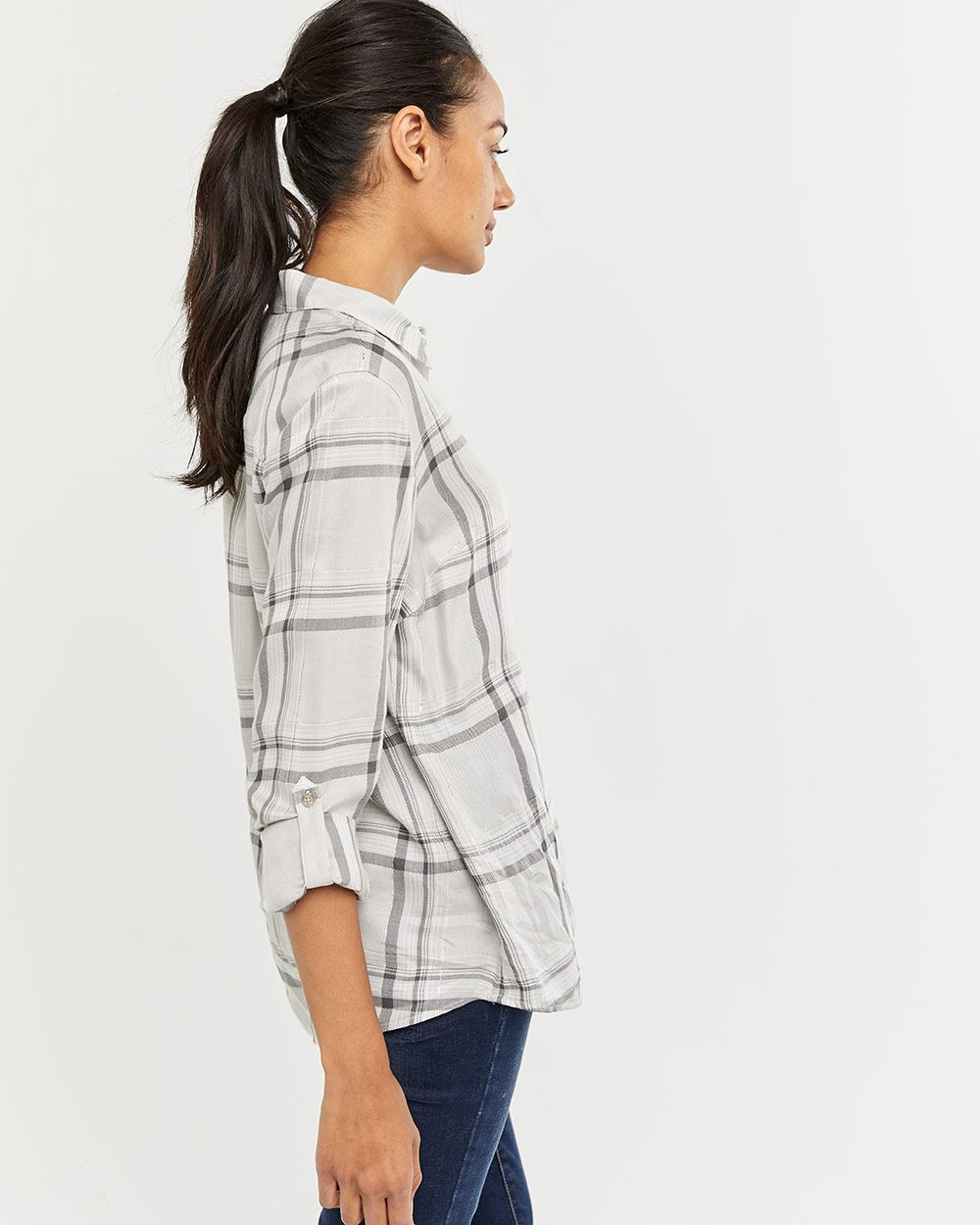 Plaid Shirt with Pocket and Metallic Thread