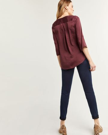 3/4 Sleeve Satin V-Neck Blouse