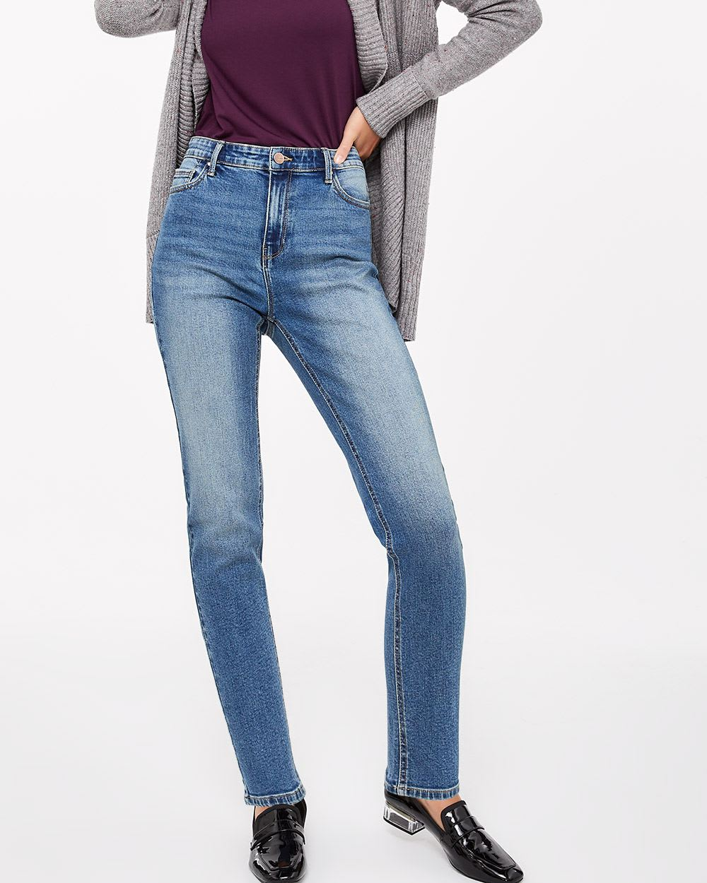 Tall High Rise Medium Wash Straight Leg Jeans
