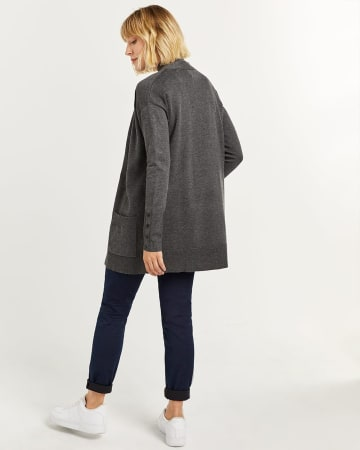 Open Cardigan with Buttoned Cuffs
