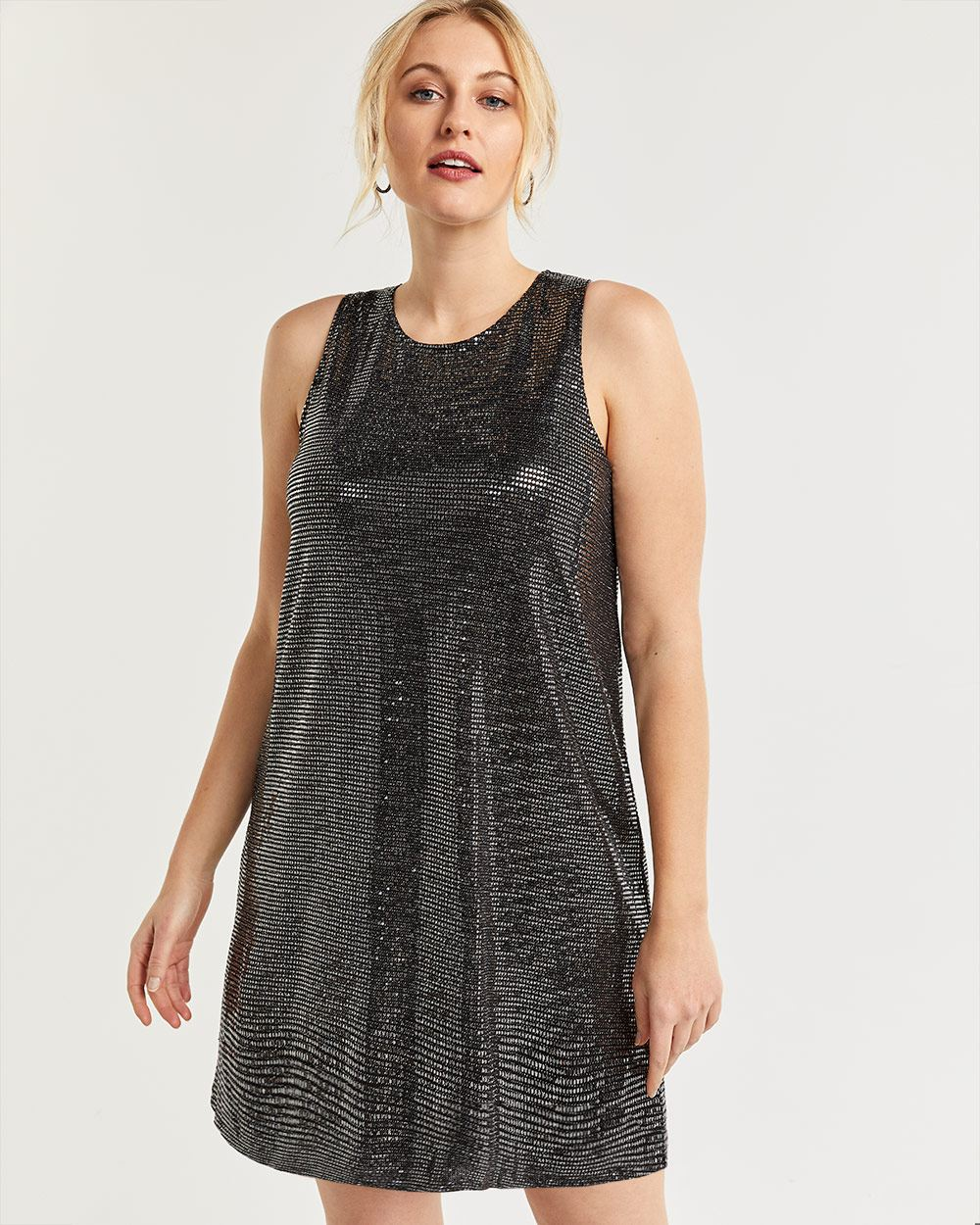 Silver Sequin Sleeveless Shift Dress