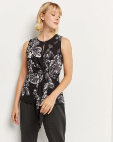 Floral Print Sleeveless Blouse with Front Tie