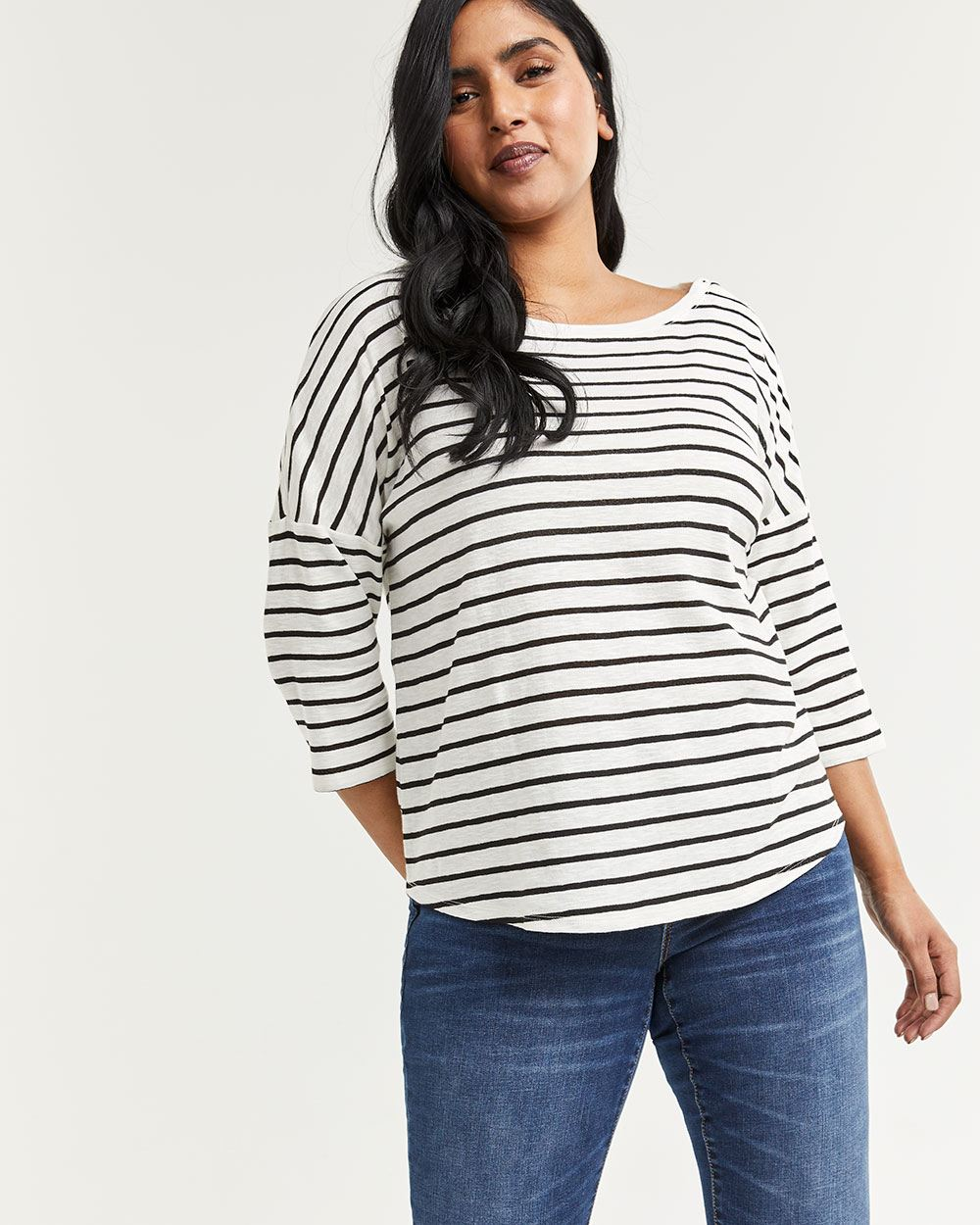 3/4 Sleeve Striped Tee with Buttons at Shoulders