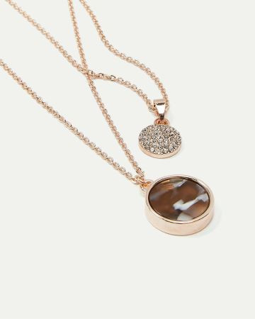 2-Layer Pendant Necklace with Medallions