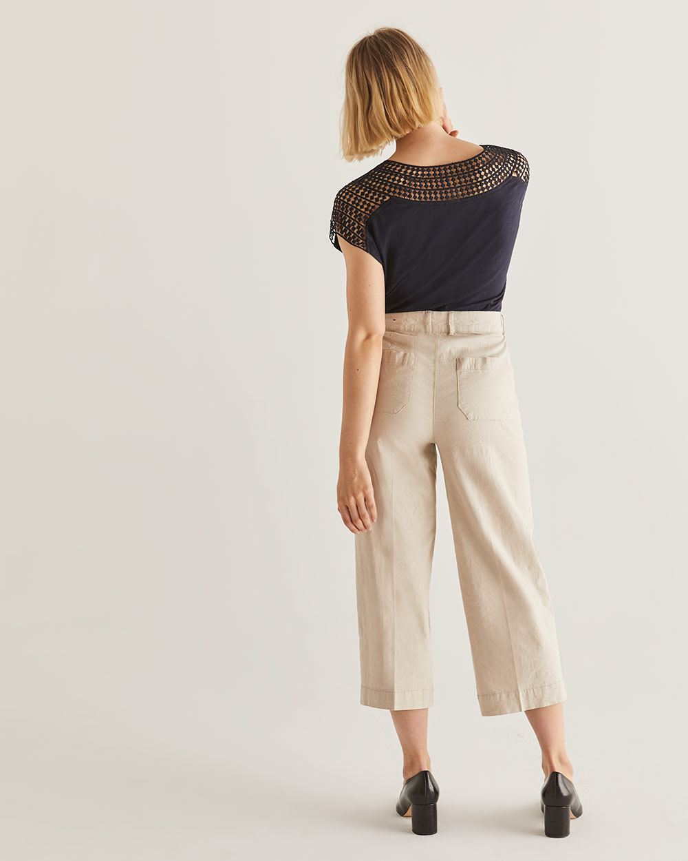 Linen-Blend Wide Cropped Pants